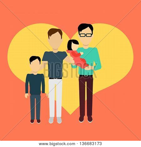 Happy family homosexual concept banner design flat style. Young family gay man with a son and baby daughter. Mother and father with child happiness lifestyle, vector illustration