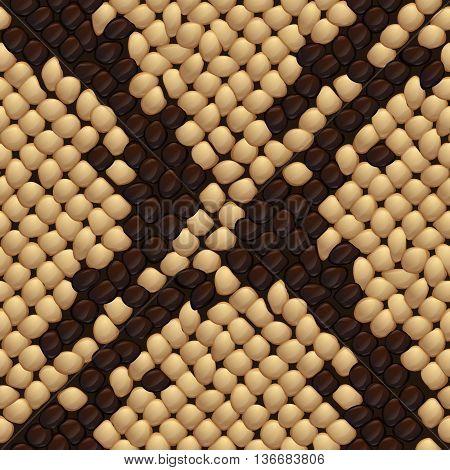 Seamless snake skin texture beige color. Vector illustration.