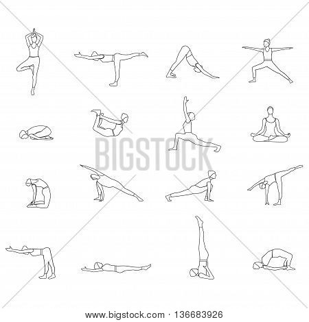 Vector illustration of outline Yoga poses silhouette. Yoga postures linear silhouette set.