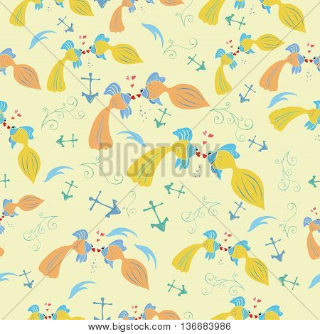 Hand drawn vector illustration pattern with cartoon fishes.Seamless fish pattern. Kids pattern for scrap booking.