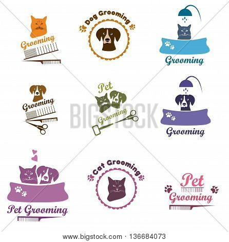 Pet shop labels and badges. Set pet grooming, dog grooming labels, badges. Pet or dog care services logo.Logo design template.