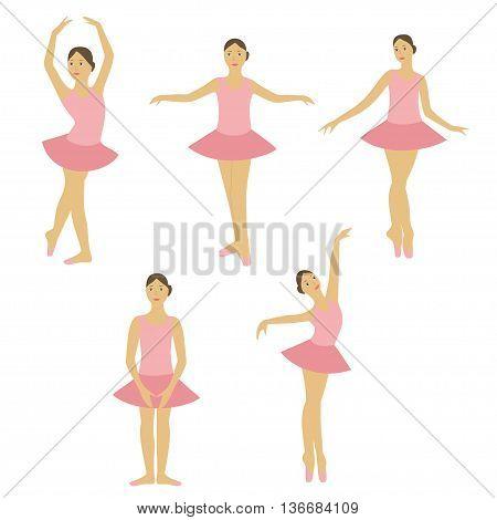 Young little ballerina dancing set. Girl ballet dancer.
