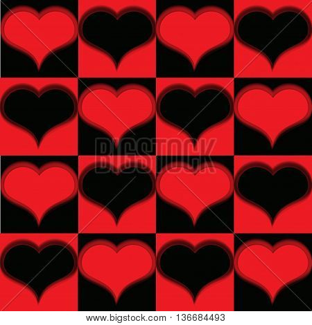 Pattern with red hearts and black, with bristle.
