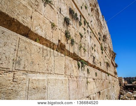 The Western Wall of the temple close-up, Temple Mount in Old City of Jerusalem, Israel