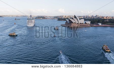 Sydney - February 27 2016: many ships around Sydney Harbour and Sydney Opera House view from Harbour Bridge February 27 2015 Sydney Australia