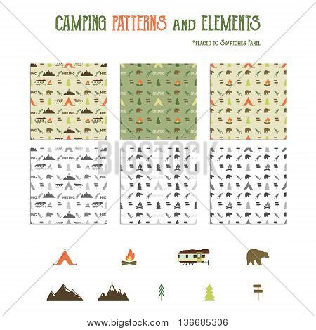 Camping patterns and hiking elements set - tent, bear, bonfire, van trailer, mountains. Travel seamless wallpaper design. Equipment for camping symbols Use as Adventure pattern in web projects, print