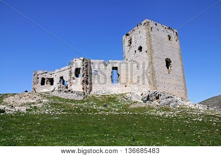 Star castle (Castillo de la Estrella) on top of the hill Teba Malaga Province Andalucia Spain Western Europe.