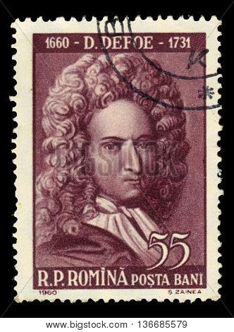 ROMANIA - CIRCA 1960: a stamp printed in the Romania shows Daniel Defoe, english trader, writer, journalist, most famous for his novel Robinson Crusoe, circa 1960