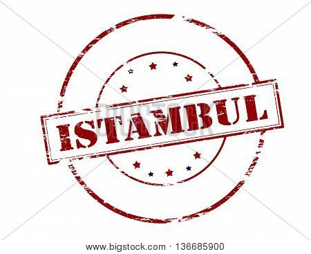 Rubber stamp with word Istambul inside vector illustration