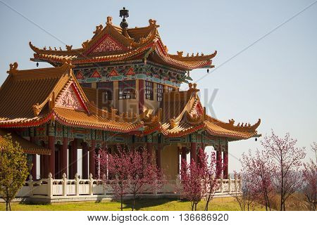 Nan Hua Temple. Fo Guang Shan. Chinese Temple in South Africa. Center of Chinese Culture. Cherry blossoms. Beginning of spring.