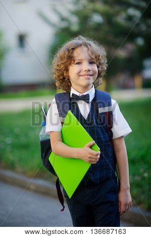 Elegant fair-haired first-grader in the school yard. The student looks at the camera with a sweet smile. In hand the boy has a bright green folder. Behind him a school bag. Back to school.