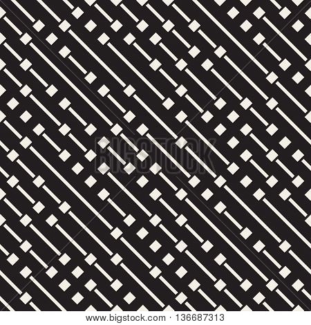 Vector Seamless Black And White Diagonal Dash Lines Pattern