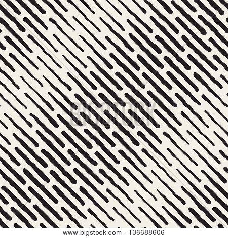 Vector Seamless Black And White Hand Drawn Daigonal Dash Lines Halftone Pattern