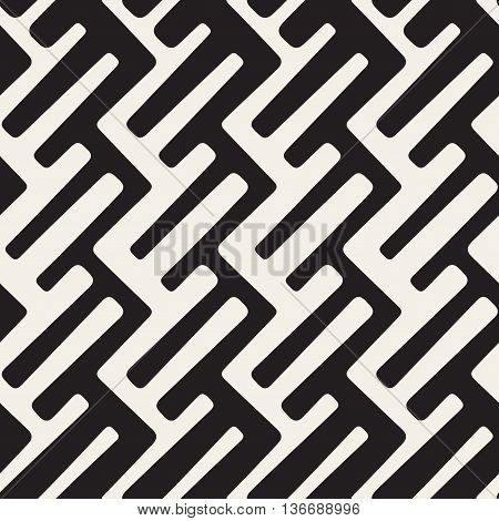Vector Seamless Black And White Rounded Lines Geometric Pattern