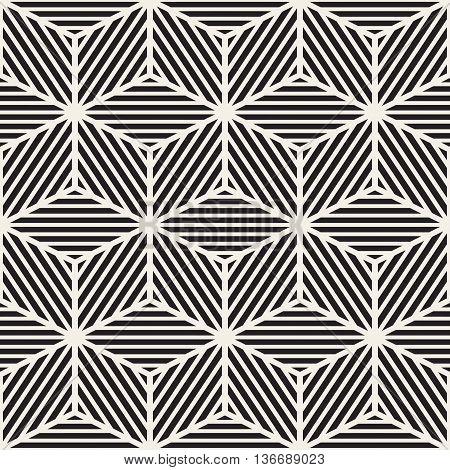 Vector Seamless Black And White Stripes Cube Shape Lines Geometric Pattern