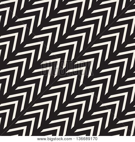 Vector Seamless Black And White Chevron Zigzag Diagonal Lines Geometric Pattern
