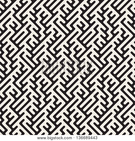Vector Seamless Black And White Rounded Lines Maze Irregular Geometric Pattern