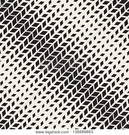 Vector Seamless Black And White Rectangle Diagonal Halftone Geometric Pattern