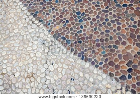 Decorative floor pattern of gravel stones Gravel texture background