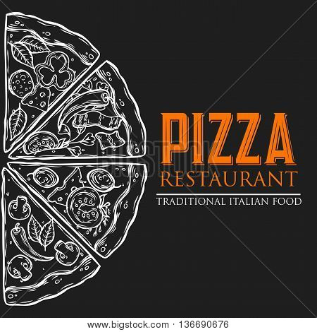 Pizza Italian Food Menu Template Hand Drawn Sketch Vector Illustration. Food Pizza Ingredients Set: