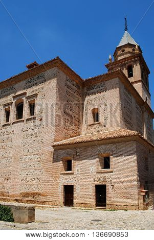 View of the Santa Maria Church Tower from the Partal Gardens Palace of Alhambra Granada Granada Province Andalusia Spain Western Europe.