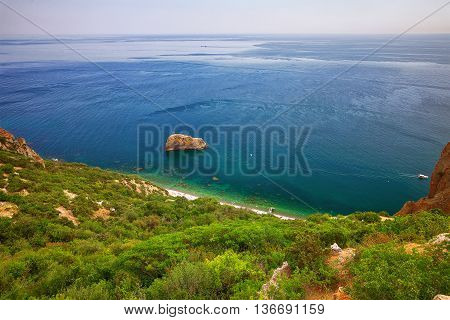 Fiolent Crimea - sea landscape. Sea view - Mountains surround the bay