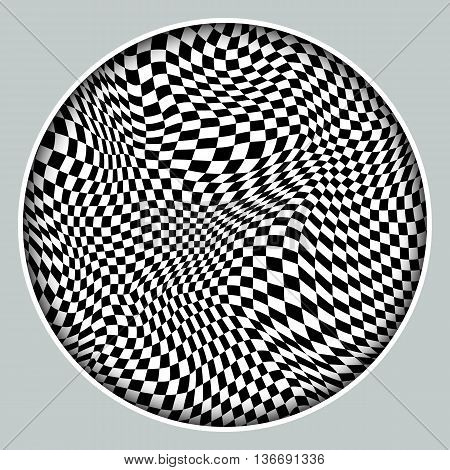 Abstract black and white checkered background. Monochrome pattern with a distorted space in frame with shadow. Element for design.