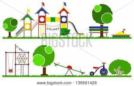 Kids playground color set. Icons with kids swings and objects. Swings, roundabouts trees and the children s playground grass.