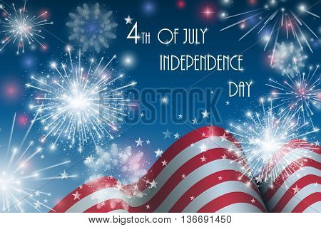 4Th Of July, American Independence Day Celebration Background With Fire Crackers. Congratulations On