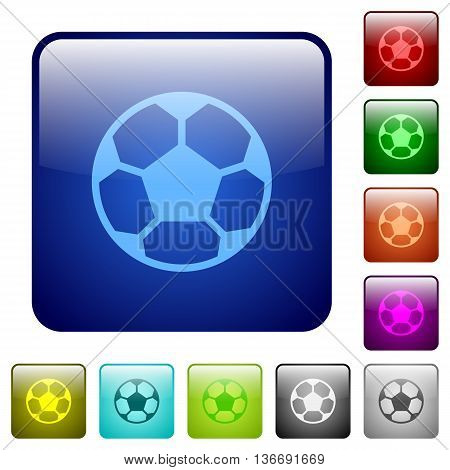 Set of soccer ball color glass rounded square buttons