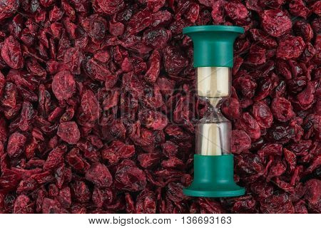 Hourglass and the dried cranberries a conceptual time and food