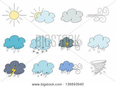 Simplistic weather illustrations: sunny, partially cloudy, cloudy, wind, rain, snow, storm with strong winds, hail, thunderstorm, sleet, rain with strong winds, tornado / cyclone
