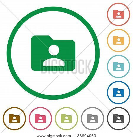 Set of Folder owner color round outlined flat icons on white background