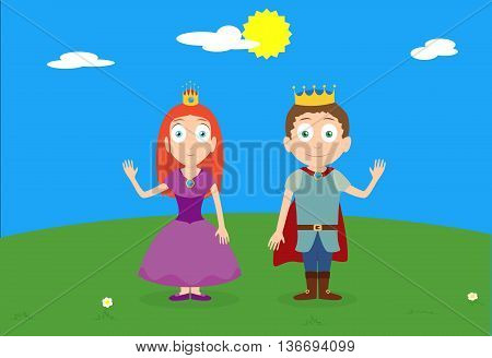 Cartoon vector illustration of character princess and prince on green hill under sunny sky. King and queen.