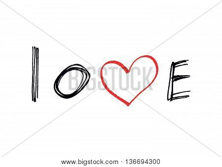 Word ''Love'' with abstract red heart on white background