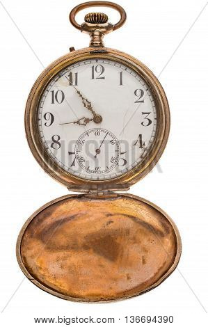 Vintage pocket watch isolated on a white background with an open lid.