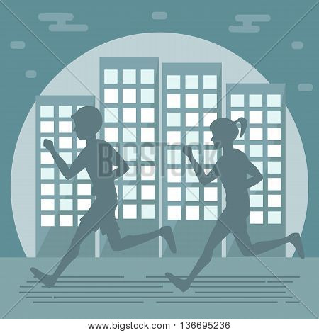 Couple man woman jogging on city background. Night runners. Vector illustration flat design.