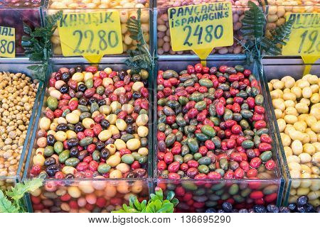 Colorful olives for sale at a market in Istanbul, Turkey