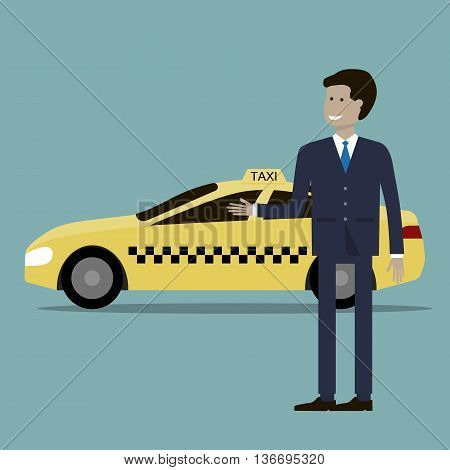 The taxi driver and yellow taxi cab. Vector illustration flat design