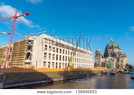 Construction site of the Berlin City Palace with the Dome in the back