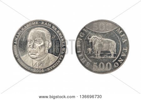 Tanzanian coin of five hundreds shillings value isolated on white background. Obverse and reverse. Heads and tails