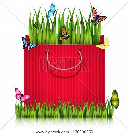 Paper shopping bag with fragment of grass on the lawn peace with butterflies and ladybugs. Vector illustration.