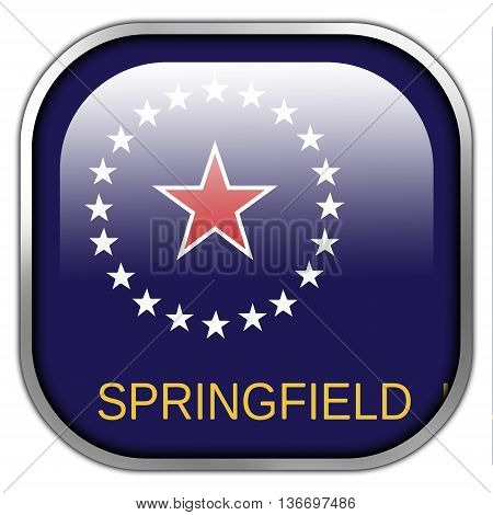 Flag Of Springfield, Illinois, Square Glossy Button