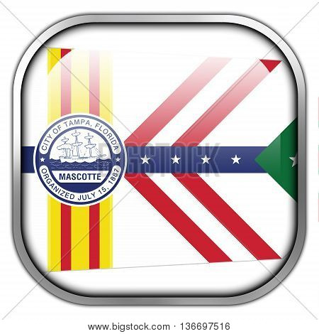 Flag Of Tampa, Florida, Square Glossy Button