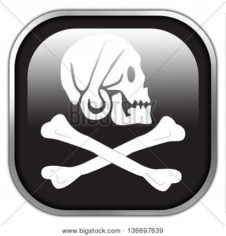 Henry Every Pirate Flag, Square Glossy Button