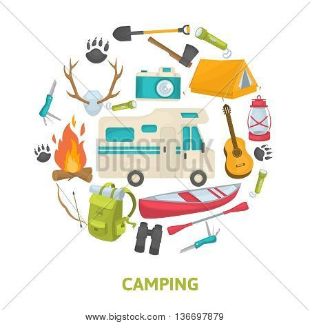 Tourist camping decorative icons set in circle shape with travel tools house trailer boat isolated vector illustration