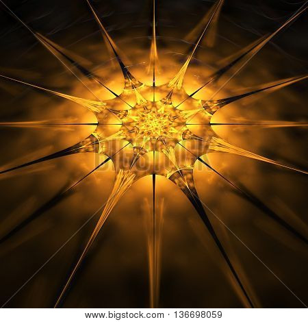 Abstract fiery mandala on blurred background. Symmetrical pattern in bright orange and yellow colors. Fantasy fractal design.