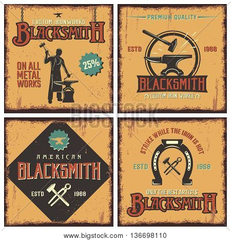 Blacksmith retro icon set with descriptions of on all metal works premium quality and strike while the iron is hot vector illustration
