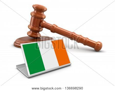 3d wooden mallet and Irish flag. Image with clipping path