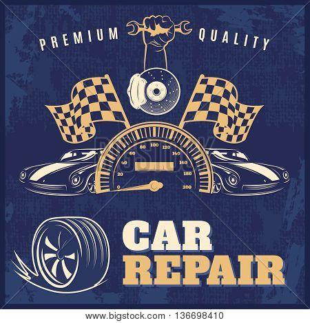 Car repair blue retro poster or flyer with headlines premium quality and car repair vector illustration